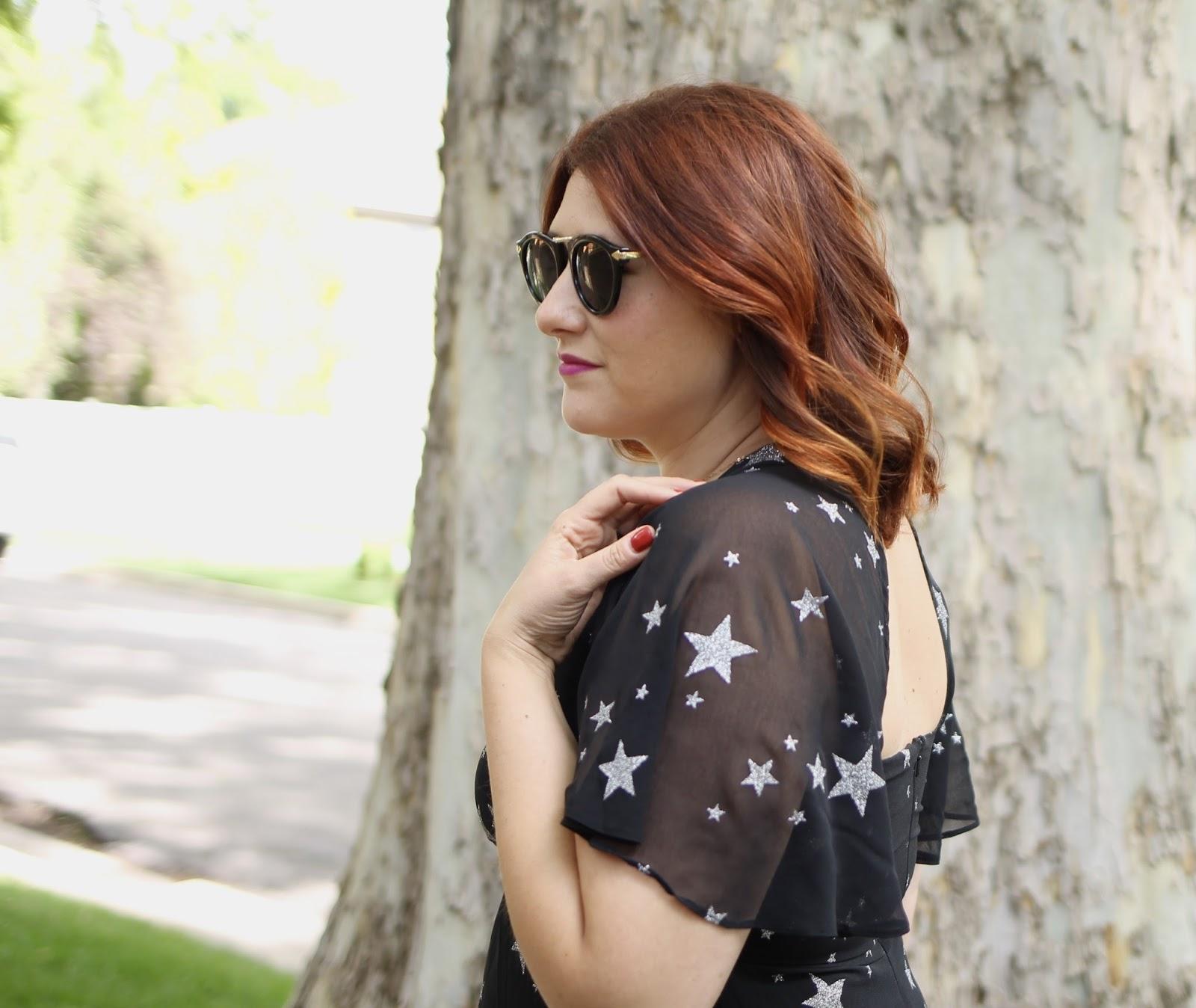 maxi dress, star print, red hair, rebecca minkooff quilted clutch