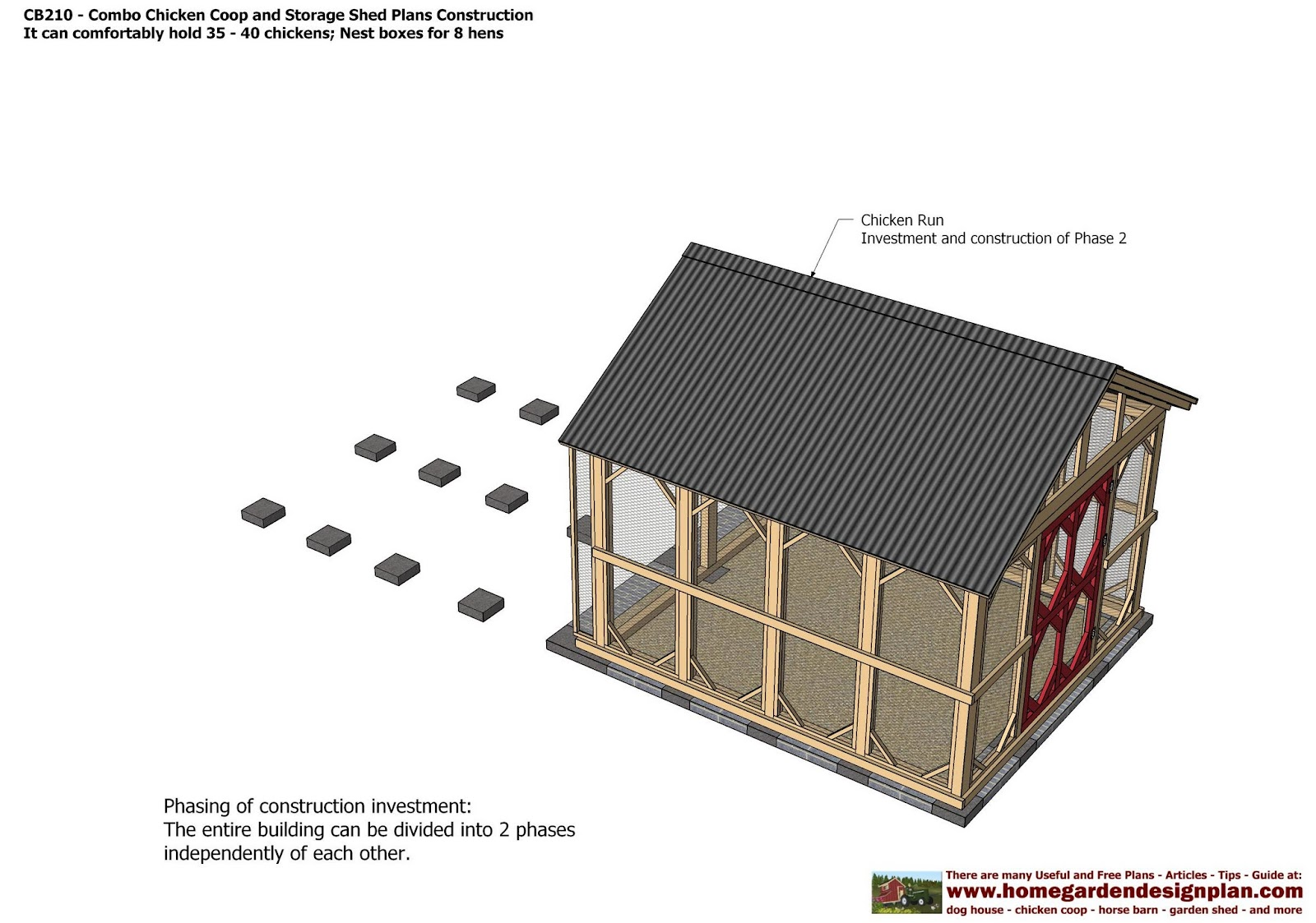 Cb210 combo plans chicken coop plans construction garden for 9 x 9 garden shed