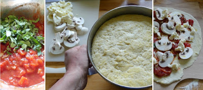 Zubereitung Pizza mit Champignons, Schinken und Rucola