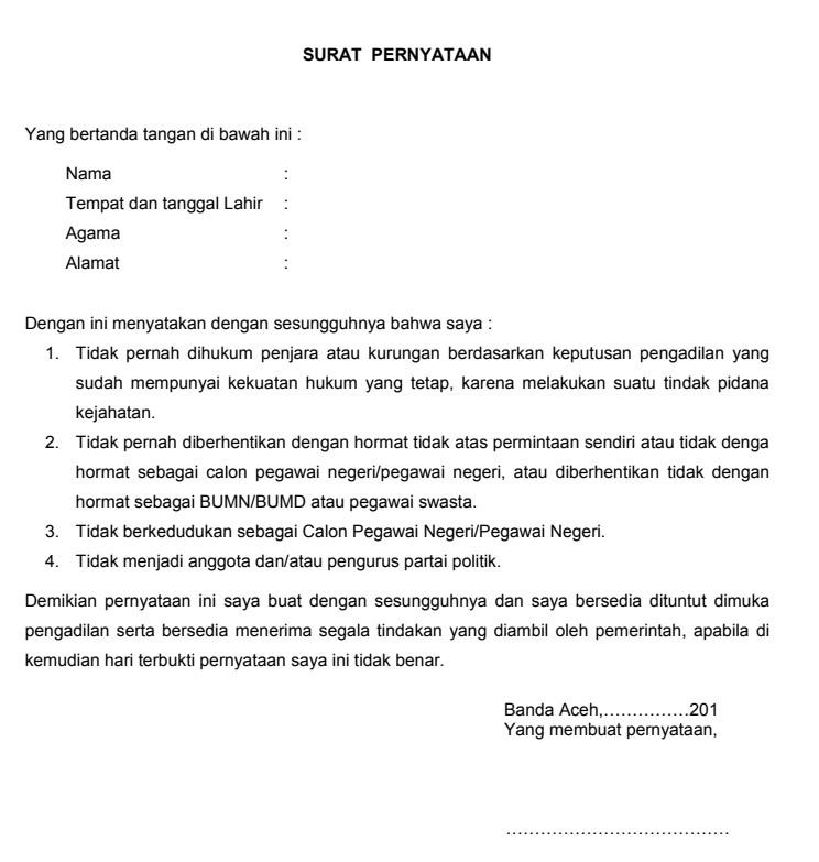 Contoh Surat Pernyataan Saat Melamar Pekerjaan Terbaru 2018
