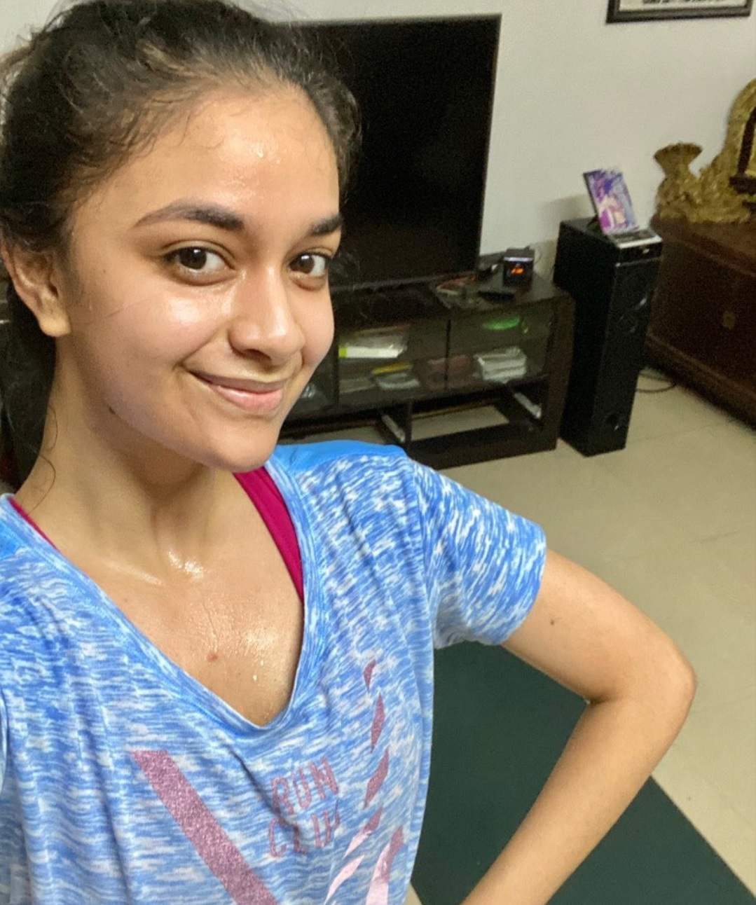 Keerthy Suresh with full of Sweat Post Yoga Glow Selfie