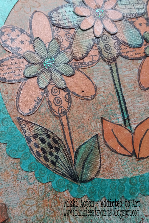 Rubber Dance Textured Flowers with That's Crafty shimmer paint - by Nikki Acton