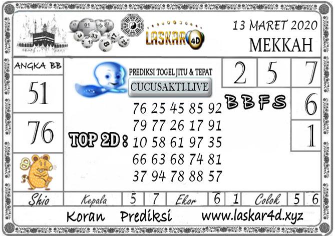 Prediksi Togel MEKKAH LASKAR4D 13 MARET 2020
