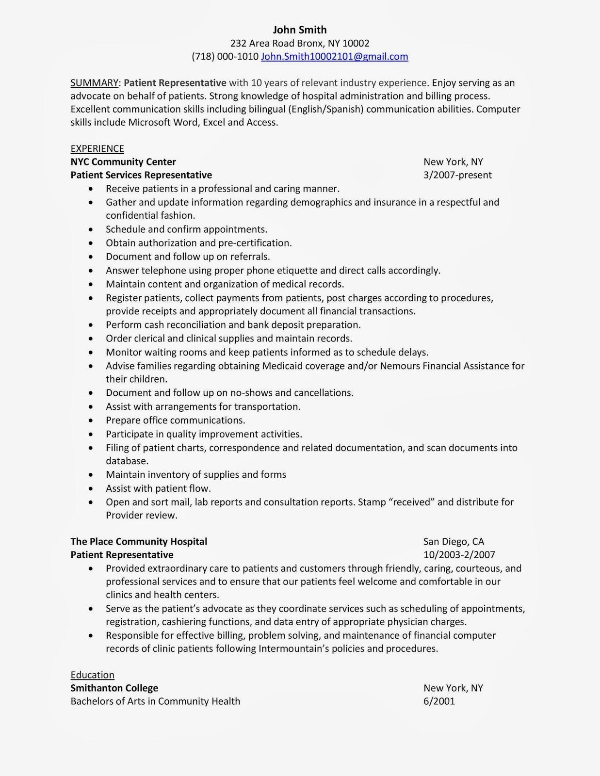 patient access rep resume sample
