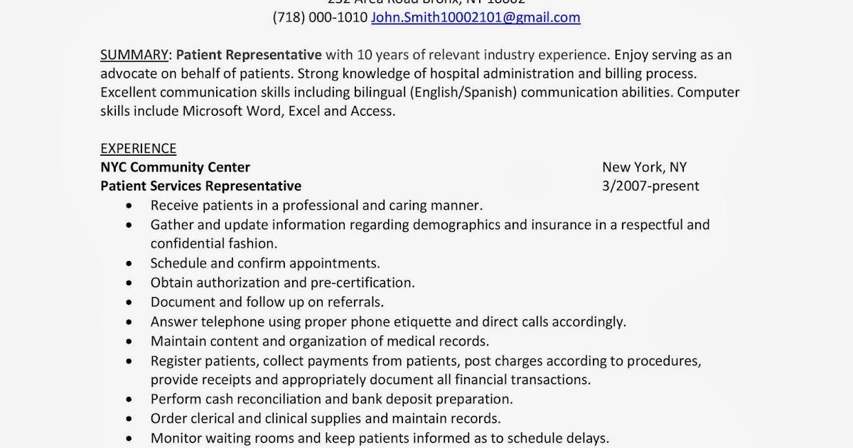 Patient Representative Sample Resume Career Advice  Pro