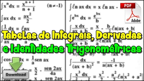 tabelas de Integrais Derivadas e Identidades Trigonométricas