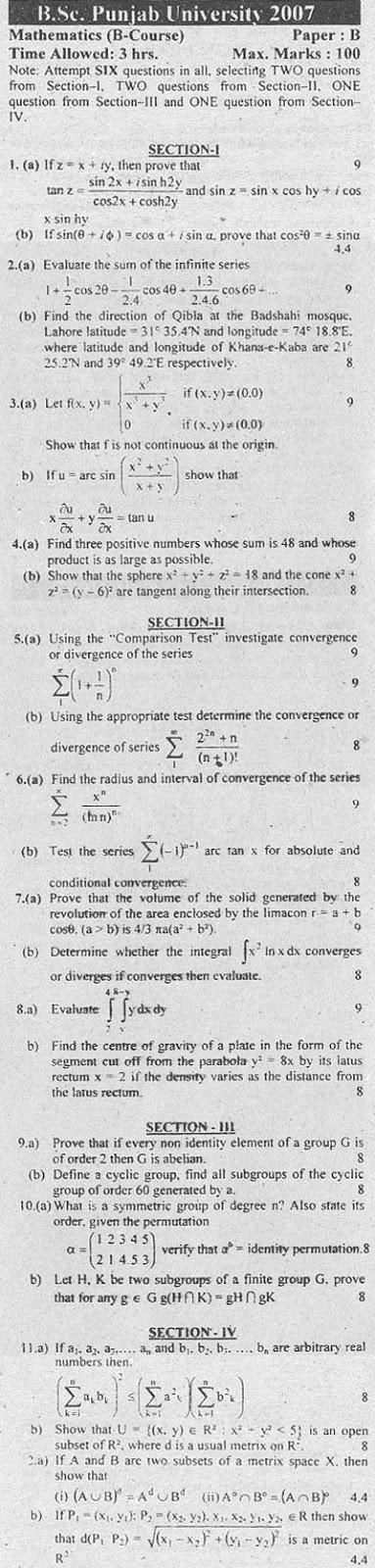 B Sc Mathematics Punjab University past papers - Ratta pk