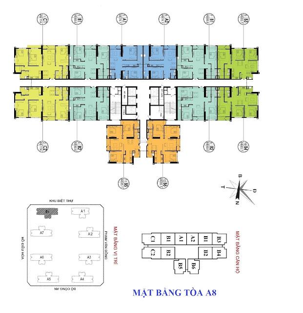 Mặt bằng thiết kế tòa A8 An Bình City