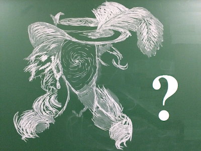 A chalkboard doodle at the college where I work that shows a headshot of a faceless person wearing a fancy, Italian Renaissance style hat sporting a giant feather.  Artist unknown. Much like this character.
