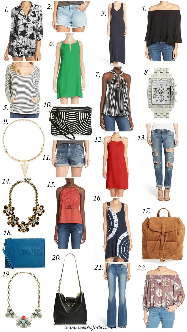 1. PJ Salvage Print Jersey Pajamas 2. BLANKNYC 'Emoji Fatigue' Denim Cutoff Shorts 3. Midnight by Carole Hochman Ribbed Lounge Maxi Dress 4. Sanctuary 'Julia' Off the Shoulder Blouse 5. Billabong 'Reach Out' Stripe V-Neck Sweatshirt 6. BB Dakota 'Rachel' Crepe Shift Dress 7. ASTR Knot Front Tank 8. BP. Crystal Bezel Watch, 30mm 9. Panacea Triangle Pendant Collar Necklace 10. Natasha Couture Beaded Clutch 11. Charles Henry Crepe Halter Dress 12. Articles of Society 'Janis' Destroyed Boyfriend Jeans 13. BaubleBar 'Twiggy' Floral Collar Necklace Articles of Society 'Jimmy' Distressed Denim Shorts (Buffet) • Articles of Society • $32.40 PJ Salvage 'Road Trip' Tie Dye Nightgown • PJ Salvage • $32.40 Sole Society 'Grier' Double Flap Faux Suede Backpack • Sole Society • $38.96 Sole Society 'Justine - Conversation' Oversize Clutch • Sole Society • $26.96 ASTR 'La Flor' Lace Tank • Astr • $44.40 Articles of Society 'Faith' Flare Jeans (Santana) • Articles of Society • $40.80 ASTR Tie Sleeve Off the Shoulder Top • Astr • $32.40 BaubleBar 'Bliss' Bib Necklace • BaubleBar • $34.80 Street Level Slouchy Faux Leather Tote • Street Level • $38.98 GLAMOROUS Stripe Sleeveless Midi Shirtdress • Glamorous • $40.80 POVERTY FLATS by rian 'Shopper' Faux Leather Bucket Bag • $34.80 Socialite Stripe Cross Back Shift Dress • Socialite • $20.40 Sole Society 'Farris' Faux Leather Winged Satchel • Sole Society • $32.96
