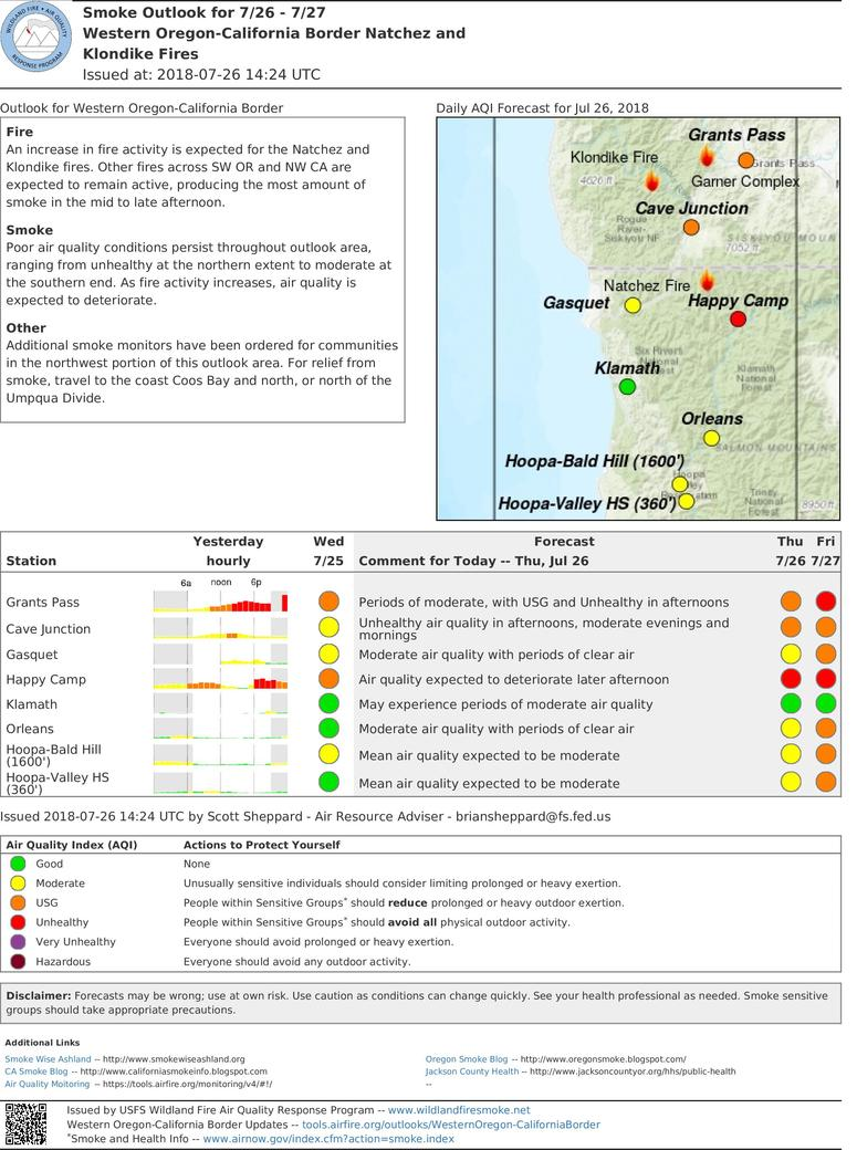 smoke outlook for western oregon california fires for thursday and friday includes grants pass cave junction
