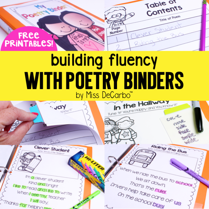 Building Fluency With Poetry Binders (Free Printables) - Miss DeCarbo