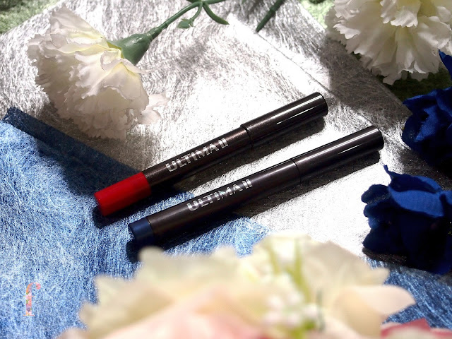 ULTIMA II CRAYON CREAM EYE POSH #03LOVING AND CRAYON LIP POSH FIX #03WITTY are very easy to spread and blend. The lipstick contains collagen and vitamen E! They have a high color pigmentation. The texture is very buttery and smooth. Lightweight too!