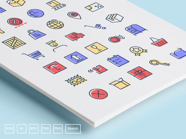 Ikon set bertema checkout atau Proses Checkout dan Delivery atau Pengiriman Komersial Gratis! Kumpulan Icon 'Checkout & Delivery' | Unduh kini juga!