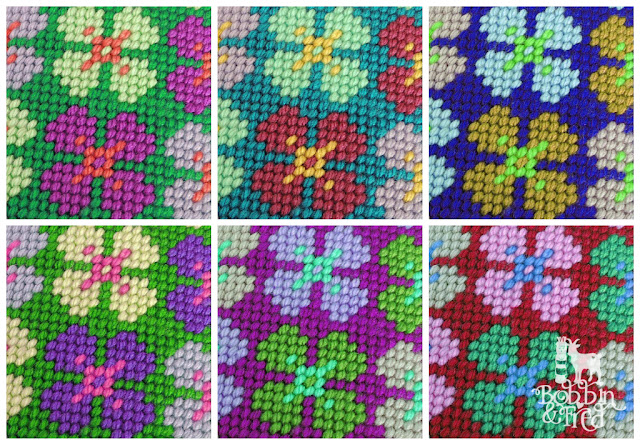 Repeat pattern needlepoint flowers sampler in 6 different colourways