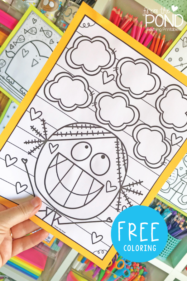 Smiling Girl Thought Bubbles Coloring Page