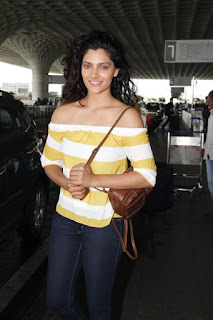 Actress Saiyami Kher wearing Cover Story at Mumbai  Airport