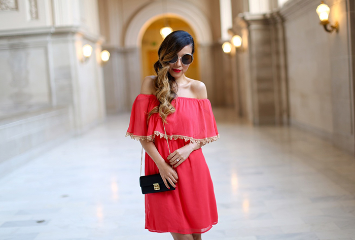Charming charlie off shoulder dress, charming charlie style watch capsule collection for fall, charming charlie fall collection, charming charlie  CLOVER TURNLOCK CROSSBODY WALLET, tory burch wedges, chloe sunglasses, san francisco street style, fall fashion