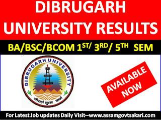 Dibrugarh University Result 2019- BA/ BSc/ BCom 1st, 3rd & 5th Semester Exam