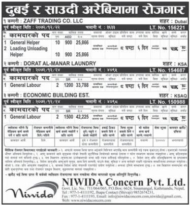 Jobs For Nepali In Dubai Salary - Rs.42,225/