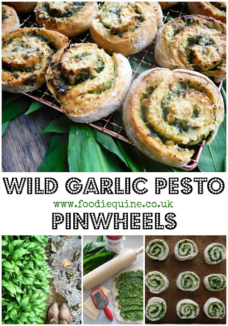Wild Garlic Pesto Pinwheels www.foodiequine.co.ukPreserve the flavour of Spring in Wild Garlic Pesto then use it to create the ultimate cheesy garlic bread. Using a soda bread base, these Wild Garlic Pesto Pinwheels are super quick and easy to make and oh so moreish.