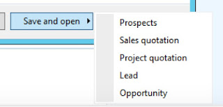 Many options when I select Save and open on my New Prospect form.