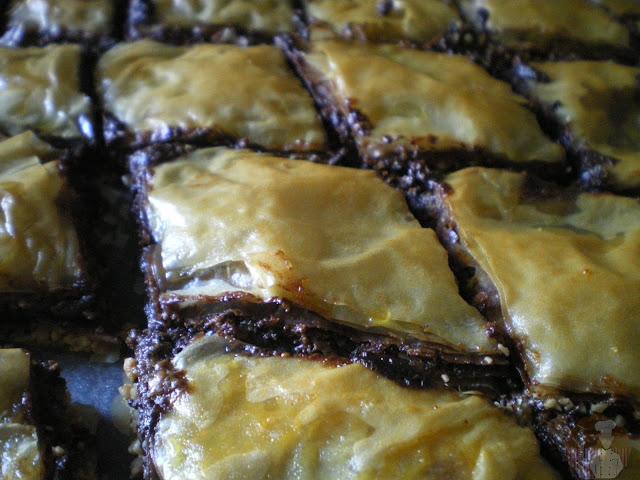 Baklava de chocolate y nutella: recién horneadas
