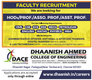 Dhaanish Ahmed College of Engineering, Chennai, Recruitment 2019 Assistant Professor/HOD's/Lab Technicians Jobs