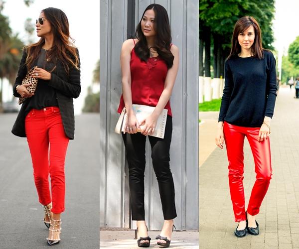 calça preta com blusa vermelha, blusa vermelha com calça preta,