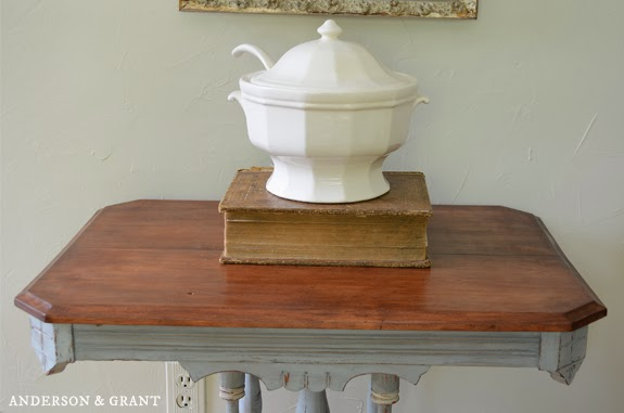 French blue painted and distressed table | www.andersonandgrant.com