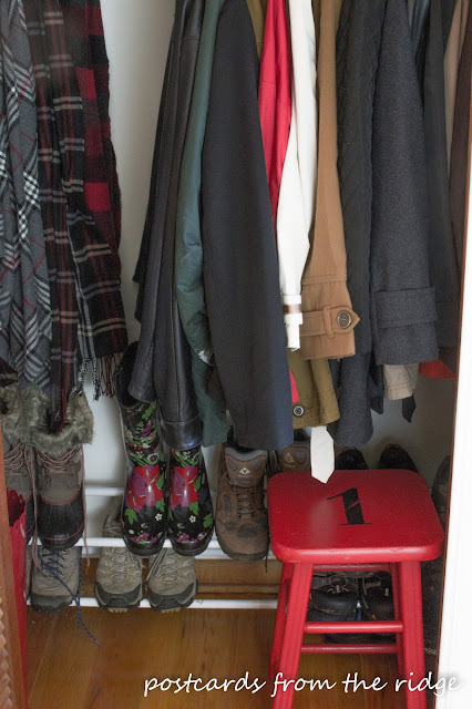 Add a stool to the coat closet. Lots of other great ideas here.