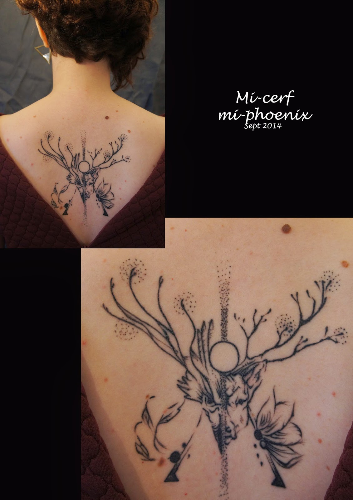 tatouage phénix et cerf