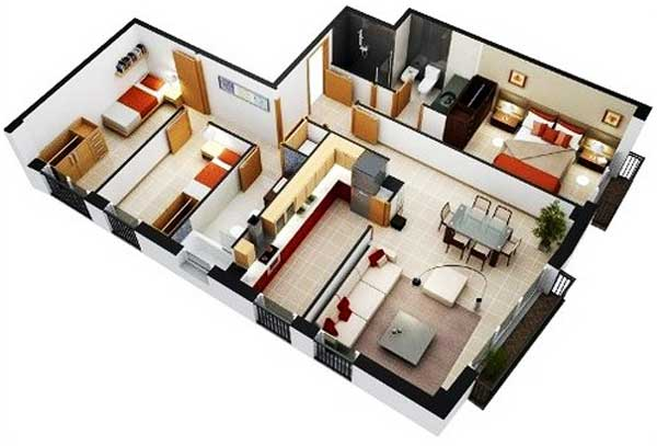 denah rumah 3 kamar tidur 3d