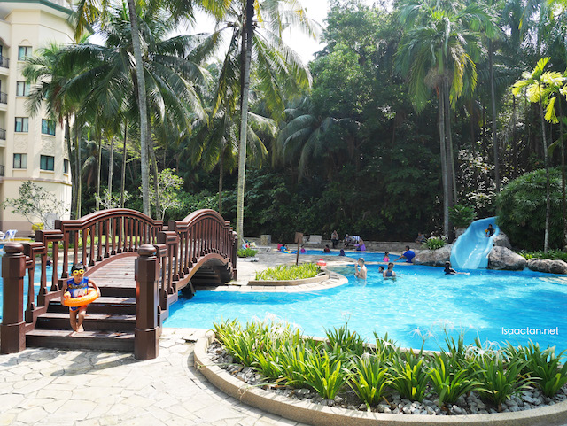 Adults and children having fun in the pool as well as using the slide