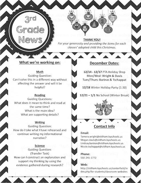 Mrs. Davis' Third Grade Class: Week 12/14 Newsletter