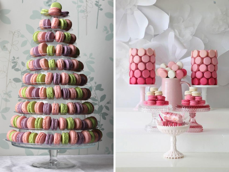 ideias de bolo de macarons para chás e casamentos