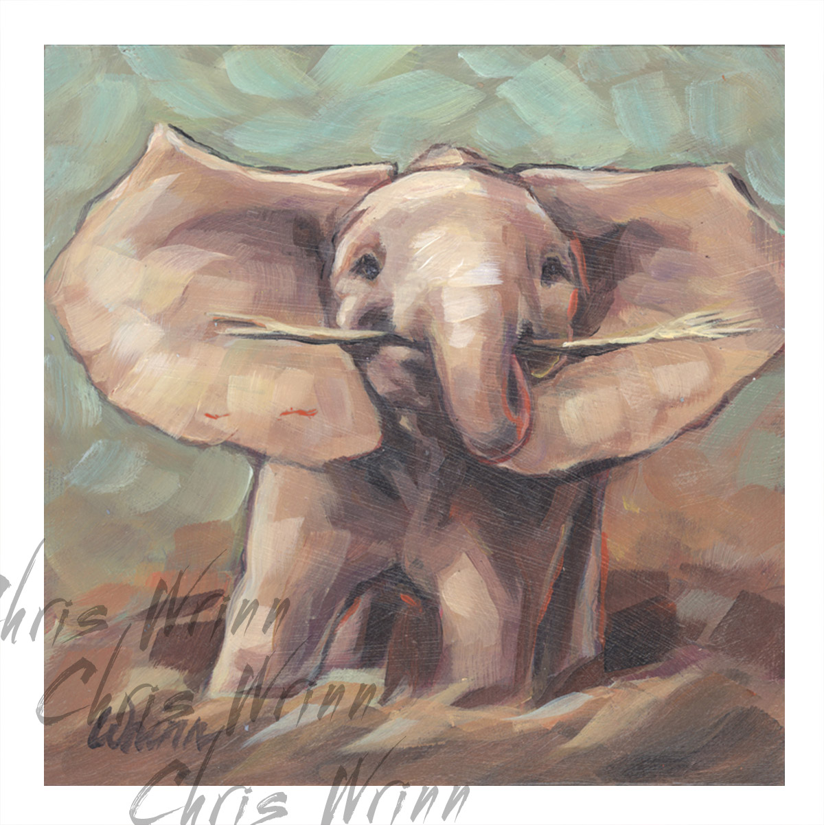 baby elephant painting cute elephant 5x5 inches on panel a new day