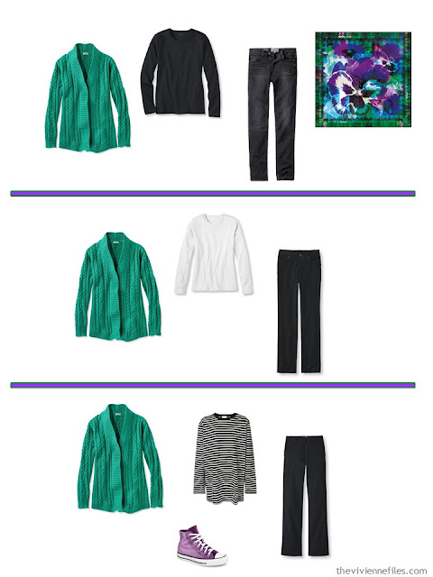 3 ways to wear a bright green cardigan with A Common Wardrobe in black and white