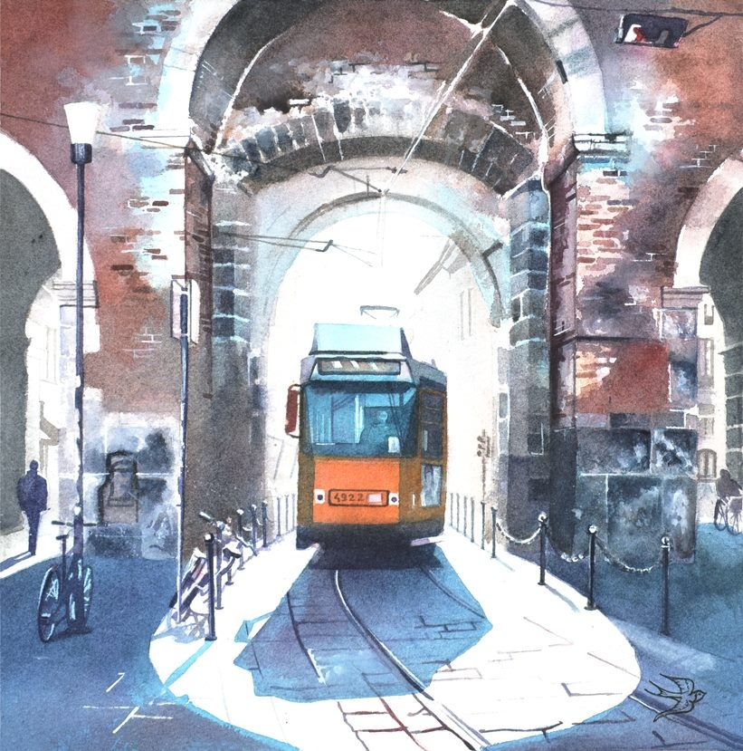 08-Corso-di-Porta-Ticinese-Viktoria-Kravchenko-Architecture-Student-Paints-City-Scenes-Watercolors-www-designstack-co