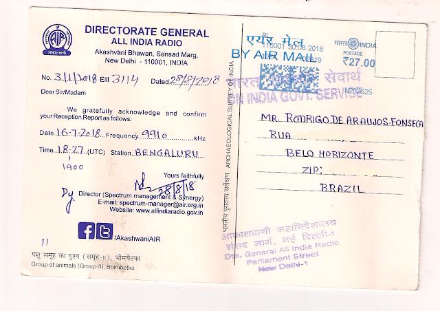 Cartão QSL carimbado e assinado