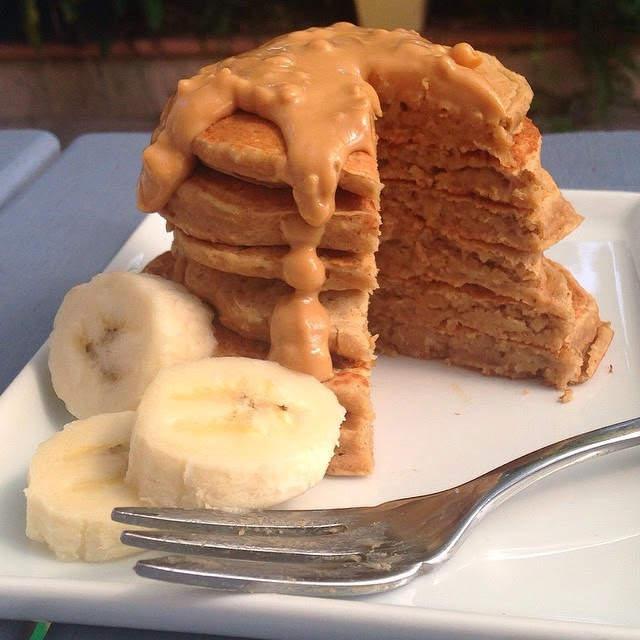 Peanut Butter Banana Protein Pancakes