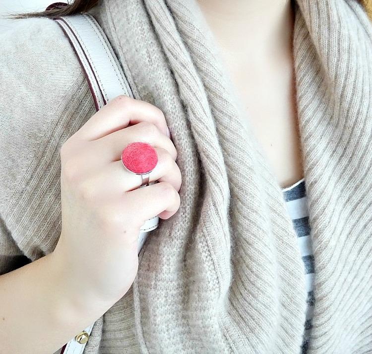 DIY felted wool ball ring