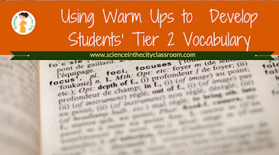 Description and results when warm up/exit tickets were used to teach tier vocabulary