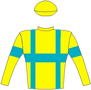 Saratoga Dancer - Jockey Silks - Yellow, turquoise braces, hoop and armband, yellow cap - Horse Racing - South Africa