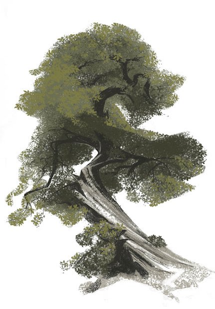 """Art Of Kevin Nelson Early """"tangled"""" Tree Design"""