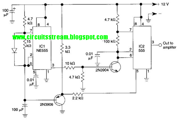 Use 555 Build Spaceship Alarm Circuit Diagram