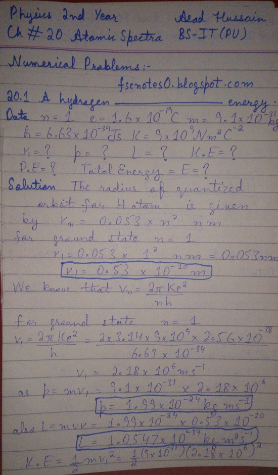 F.Sc ICS Notes: Physics XII: Chapter 20 Atomic Spectra Numerical Problems Asad Hussain