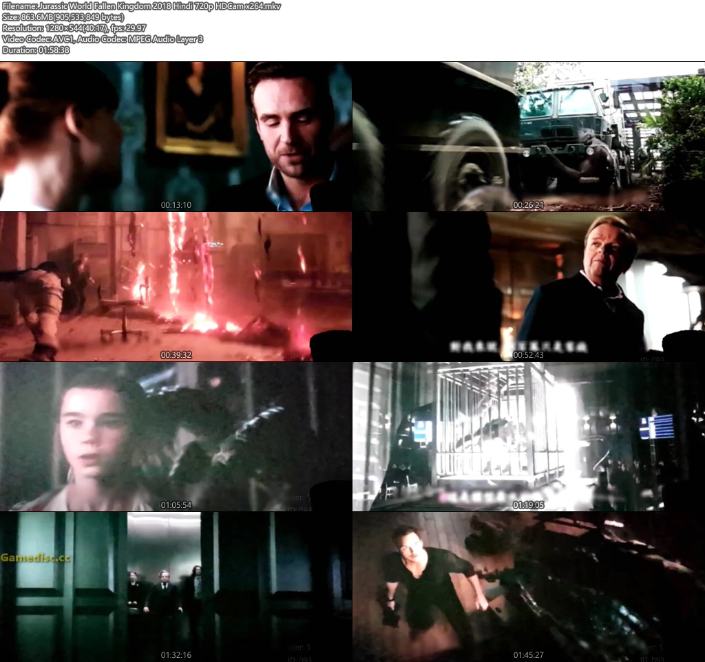 Jurassic World Fallen Kingdom 2018 Hindi 720p HDCam   480p 300MB   100MB HEVC x264 Screenshot