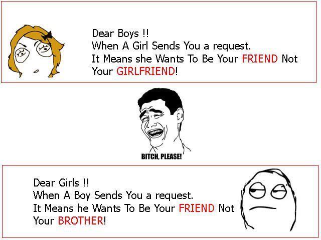 Funny Facebook jokes : Boys vs Girls for sending friend ...