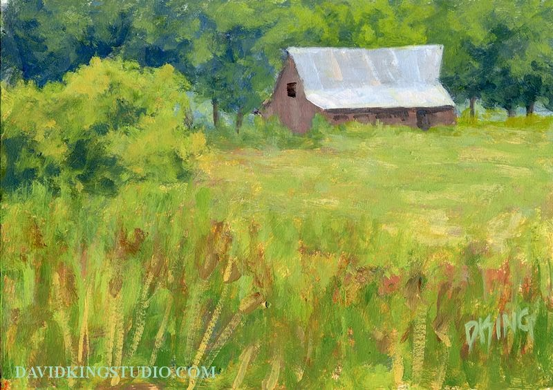 art painting rural landscape field barn spring